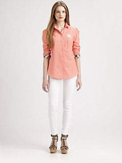 Burberry Brit - Puffed-Shoulder Button-Down Shirt