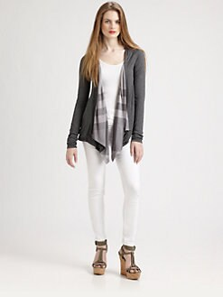 Burberry Brit - Check-Trim Open-Front Cardigan