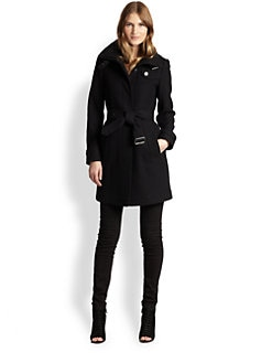 Burberry Brit - Funnel Neck Wool Coat
