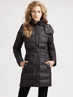 Burberry Brit - Quilted Buckle Belt Puffer Coat