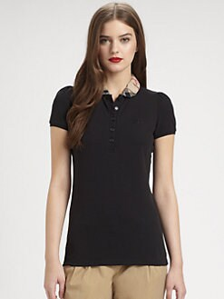 Burberry Brit - Woven-Collar Jersey Polo