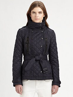 Burberry Brit - Leather-Trim Quilted Jacket
