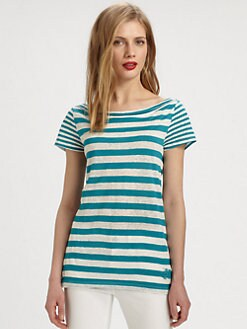 Burberry Brit - Striped Linen/Cotton T-Shirt