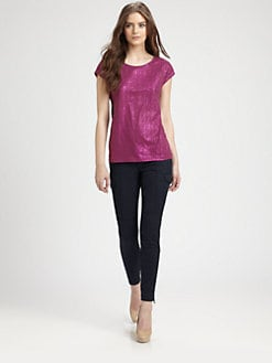 Burberry Brit - Metallic Foiled-Effect Cotton Tee