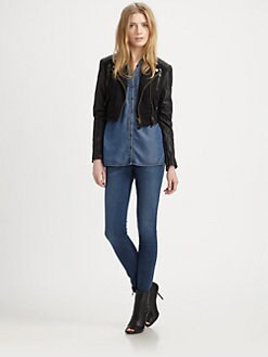 Burberry Brit - Denim-Leather Moto Jacket