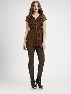 Burberry Brit - Animal Print Silk Top