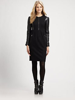 Burberry Brit - Wool/Leather Dress