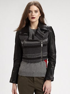 Burberry Brit - Fair-Isle/Leather Moto Jacket