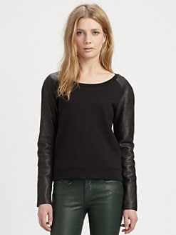 Burberry Brit - Leather-Sleeve Raglan Top