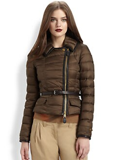 Burberry Brit - Leather Trim/Leather Belt Puffer