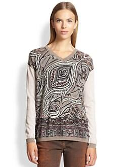 Etro - Paisley V-Neck Sweater