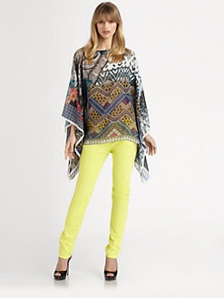 Etro - Printed Silk Poncho