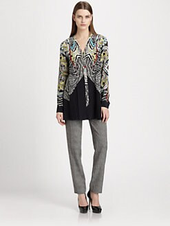 Etro - Printed Pleated Silk Tunic