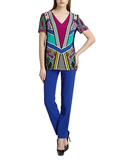 Etro - Printed Stretch Cady Top