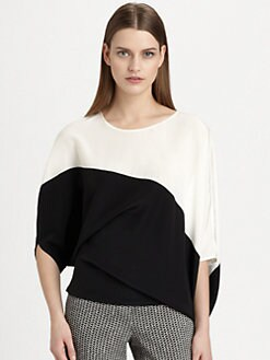 Etro - Asymmetrical Colorblock Silk Top