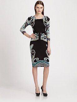 Etro - Printed Ruched-Waist Jersey Dress