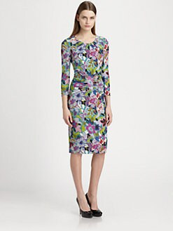 Etro - Floral-Print Ruched-Waist Jersey Dress