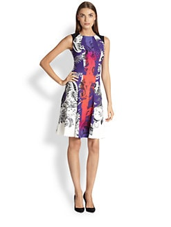 Etro - Quadrant Print Flounce Dress