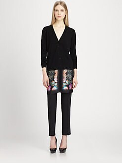 Etro - Printed Satin-Paneled Wool Cardigan