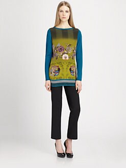 Etro - Printed Satin-Paneled Wool Sweater