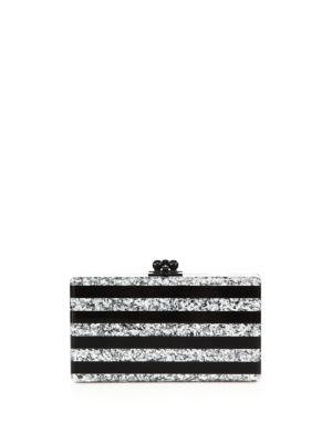 Jean Glitter Stripe Acrylic Clutch