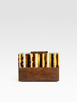 R & Y Augousti - Pen Shell & Lizard Box Clutch