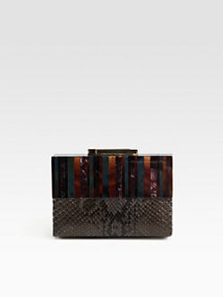 R & Y Augousti - Pen Shell & Python Box Clutch