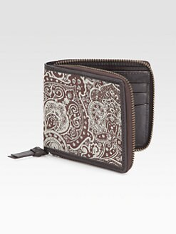 Robert Graham - Thomas Leather-Trimmed Paisley-Print Wallet