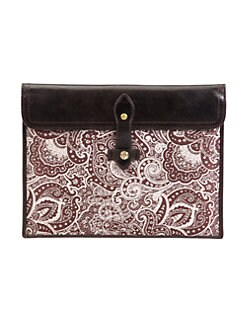 Robert Graham - Beck Leather-Trimmed Paisley iPad Case