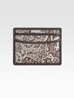 Robert Graham - Wither Leather-Trimmed Paisley-Print Card Case