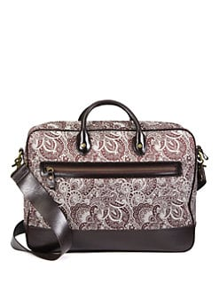 Robert Graham - Everett Leather-Trimmed Paisley Fabric Briefcase