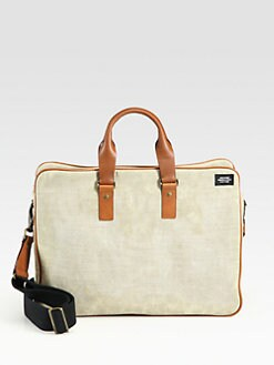 Jack Spade - Accordian Waxed Linen Briefcase