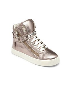 Kors Kids - Girl's Studded Metallic High-Top Sneakers
