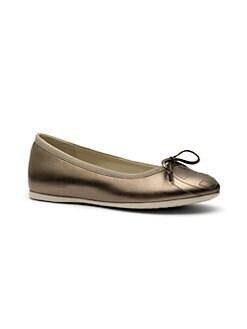 Gucci - Girl's Metallic Leather Ballet Flats