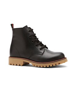 Gucci - Girl's Signature Stripe Leather Boots