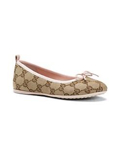 Gucci - Girl's Signature GG Print Ballet Flats