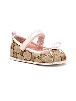Gucci - Infant & Toddler Girl's Signature GG Print Ballet Flats