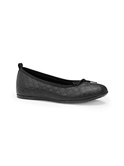 Gucci - Girl's Microguccisma Leather Ballet Flats