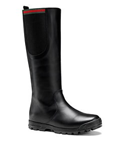 Gucci - Girl's Signature Web Leather Boots