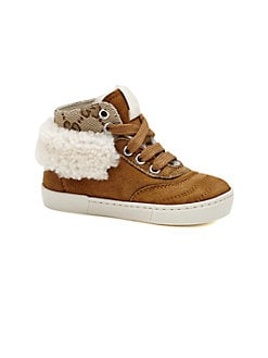 Gucci - Infant's & Toddler Boy's Suede & Shearling High-Top Sneakers