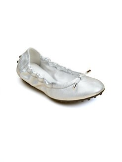 Tod's - Girl's Lacetto Metallic Ballerina Flats