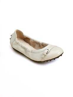 Tod's - Girl's Leather Buckle Ballerina Flats