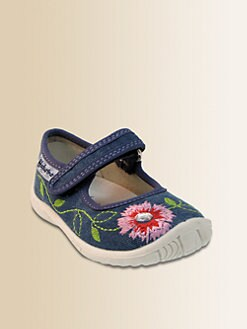 Naturino - Girl's Embroidered Denim Mary Janes