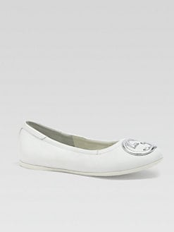 Gucci - Girl's Interlocking GG Leather Ballet Flats