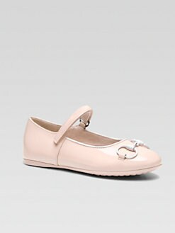 Gucci - Girl's Horsebit Patent Leather Mary Jane Flats