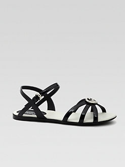 Gucci - Girl's Patent Leather Interlocking GG sandals