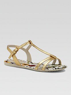 Gucci - Girl's Leather Floral Sandals