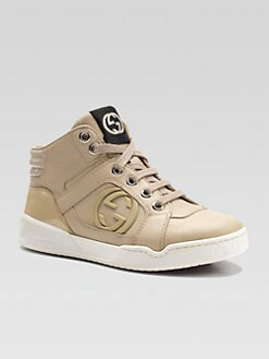 Gucci - Boy's Leather Interlocking GG High-Top Sneakers