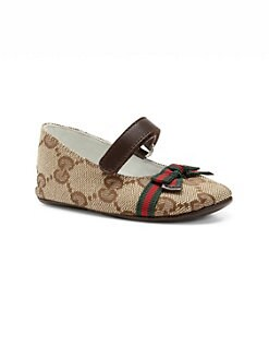 Gucci - Infant's GG Signature Web Mary Jane Flats