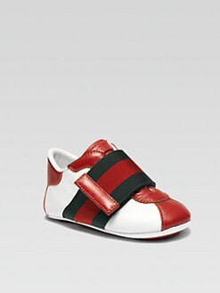 Gucci - Infant's Leather Signature Web Grip-Tape Sneakers